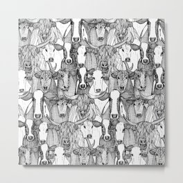 just cattle black white Metal Print