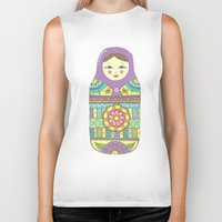 russian Biker Tanks featuring Russian Doll by haleyivers