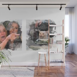 Woman Yelling at Cat Art Print Watercolor Wall Mural
