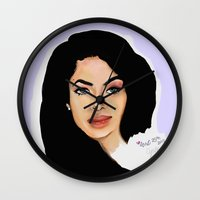 aaliyah Wall Clocks featuring Aaliyah remembered  by Catheriney