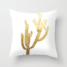 Golden Cactus Throw Pillow