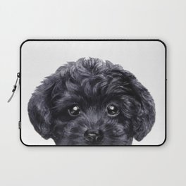 Black toy poodle Dog illustration original painting print Laptop Sleeve
