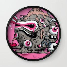 Urban Street Art: Pink Oozing Eye Creature (Buff Monster) Wall Clock