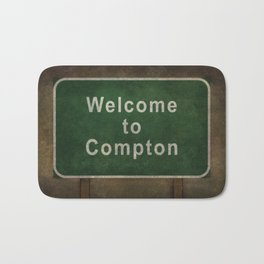 Welcome to Compton, roadside sign illustration Bath Mat