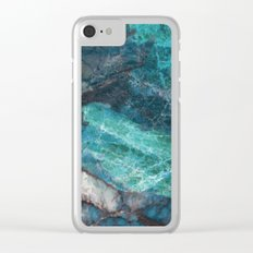Real Marble - Cerulean Blue Marble Texture Clear iPhone Case