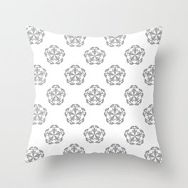 Gray Floral Checkered geometric pattern Throw Pillow