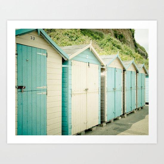 Duck Egg Blue and Cream Beach Huts Art Print