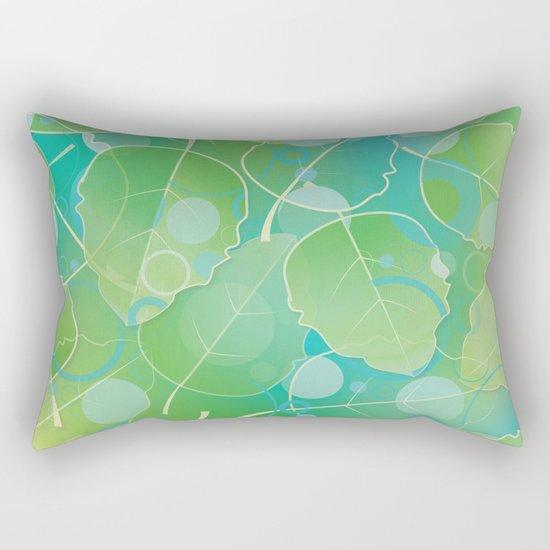 Floating Leaves Pattern I - Spring, Summer, Apple Green Rectangular Pillow