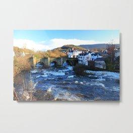 Bridge over  River Dee in spate at Llangollen, Wales Metal Print