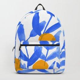 Tropical Lemons / Blue and Yellow Refreshing Lemon Print / Abstract Lemon Vibes / Summer Lemons Backpack