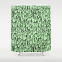 concert Shower Curtains featuring Rock Concert - Thrashing! by Deep Fried Lettuce