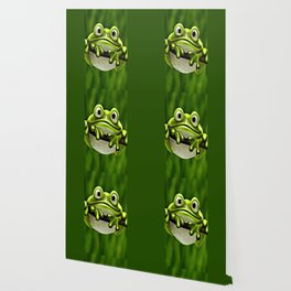 Adorable Funny Cute Green Frog In Tree Wallpaper