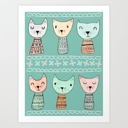 Kokeshi Kitties with Teal Background Art Print