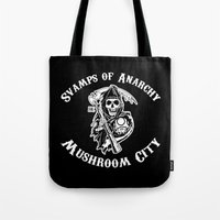sons of anarchy Tote Bags featuring Svamps of Anarchy by Svampriket