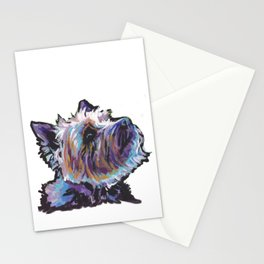 Fun Cairn Terrier Dog Portrait bright colorful Pop Art Painting by LEA Stationery Cards