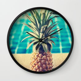 Pool pineapple Wall Clock