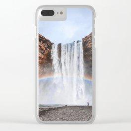 Rainbow Waterfall Clear iPhone Case