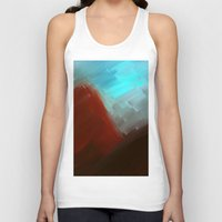 free shipping Tank Tops featuring Mountains in blue by Ordiraptus