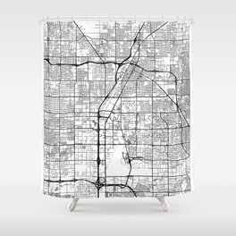 Las Vegas Map White Shower Curtain