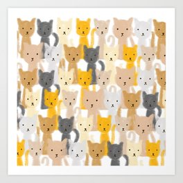Peeping Cats Pattern Art Print