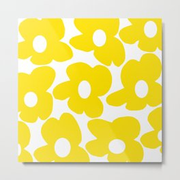 Large Yellow Retro Flowers on White Background #decor #society6 #buyart Metal Print