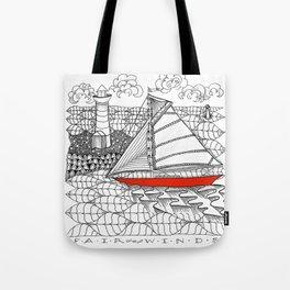 Sailors Dream Fair Winds Sailboat Zentangle Tote Bag