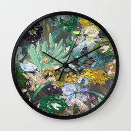 Flower piece Mint green purple   by Martine de Ruiter Wall Clock