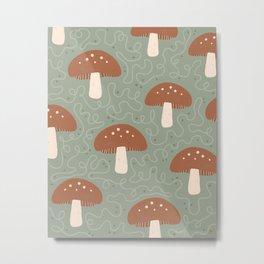 Mushroom Folk Texture Design Metal Print