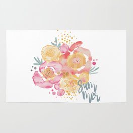 Summer Garden Bouquet - Watercolor Flowers Rug