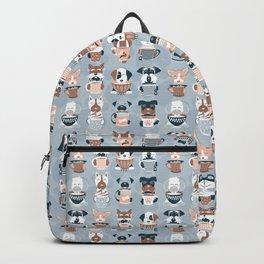 Doggie Coffee and Tea Time I // blue grey Backpack