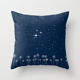 Dandelion Starry Night Sky Throw Pillow