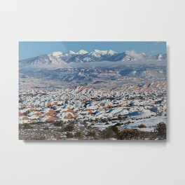Snowy La Sal Mountains from Arches National Park Metal Print