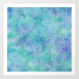 Teal and Blue Tropical Marble Watercolor Texture Art Print