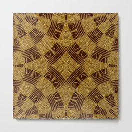 Red Flags - gold red triangle striped geometric pattern  Metal Print
