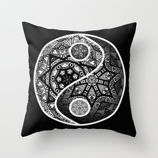Yin Yang Zentangle Throw Pillow