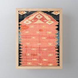 South West Anatolia  Antique Turkish Niche Kilim Print Framed Mini Art Print