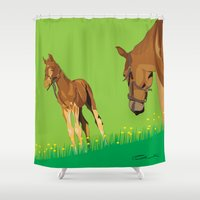 horses Shower Curtains featuring Horses by Anderssen Creative Imaging