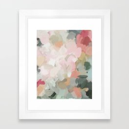 Forest Green Fuchsia Blush Pink Abstract Flower Spring Painting Art Framed Art Print