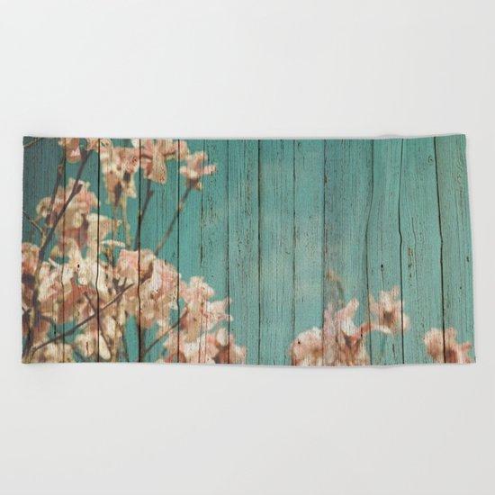 Sweet Flowers on Wood 02 Beach Towel