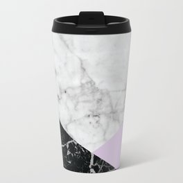 White Marble Black Granite & Light Purple #388 Travel Mug