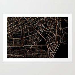 Cancun map, Mexico Art Print