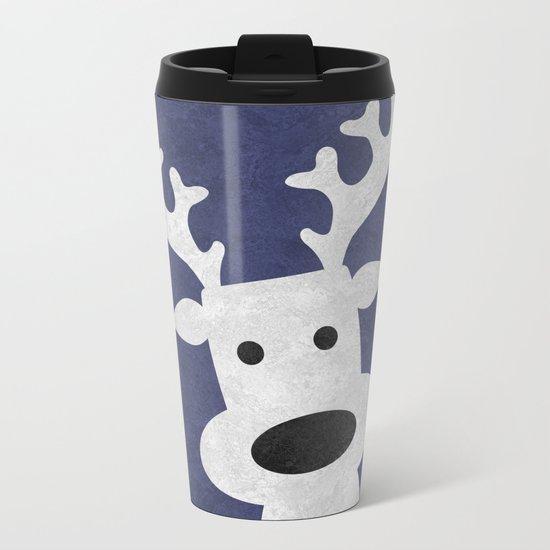 Christmas reindeer blue marble Metal Travel Mug