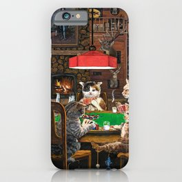 Cats Playing Poker iPhone Case