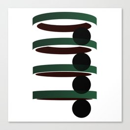 Geometric coloured architectural but abstract urban circles and elipses in green  and red graphic Canvas Print