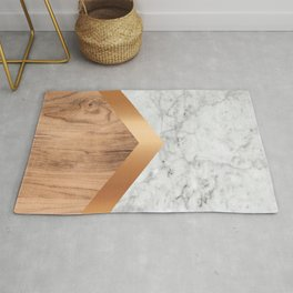 Stone Arrow Pattern - White Marble, Rose Gold & Wood #924 Rug