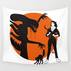 Alien Cartoon Style - Orange Wall Tapestry