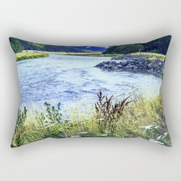 As a River Serpentines Through the Mountains Rectangular Pillow