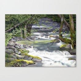 Panther Creek, Watercolor Canvas Print