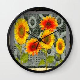 GREY GRUBBY SHABBY CHIC STYLE SUNFLOWERS ART Wall Clock