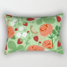 Roses and strawberries on green Rectangular Pillow